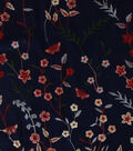 Silky Apparel Fabric-Floral Vine Embroidery on Navy