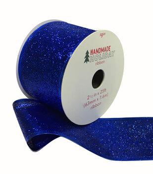Handmade Holiday Christmas Glitter Ribbon 2.5''x25'-Blue