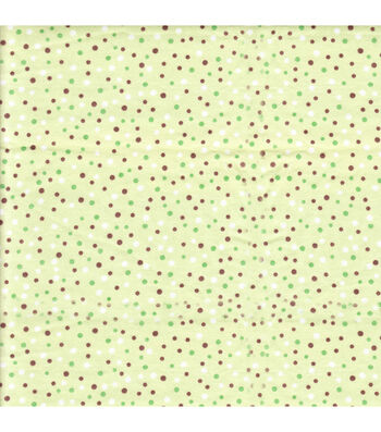 Snuggle Flannel Fabric 42''-Green, Brown & White Dots