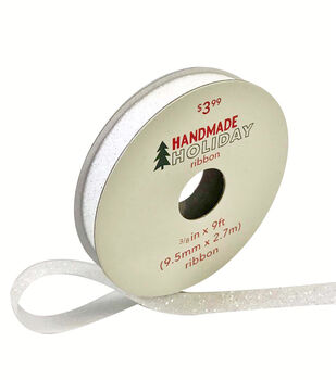 Handmade Holiday Christmas Glitter Ribbon 3/8''x9'-Iridescent White