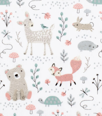 Nursery Cotton Fabric 43''-Woodland Animals