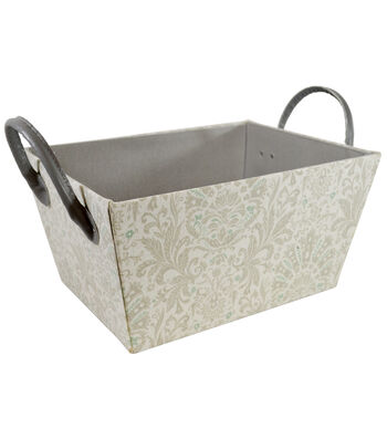 Small Laundry Storage Fabric Bin with Leather Handle-Floral