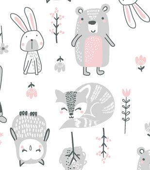 Nursery Cotton Fabric-Wood Sweet Animals