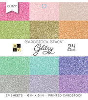 DCWV Pack of 24 6''x6'' Cardstock Stack-Glitzy, , hi-res
