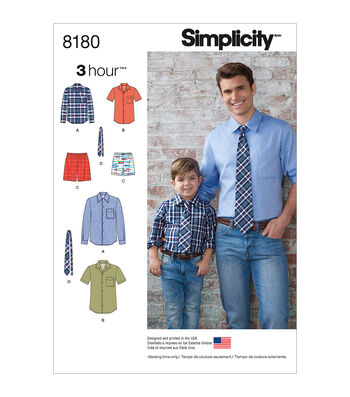 Simplicity Patterns US8180A Boys' & Men's Shirt, Boxer Shorts & Tie-Size A (S-L/S-XL)
