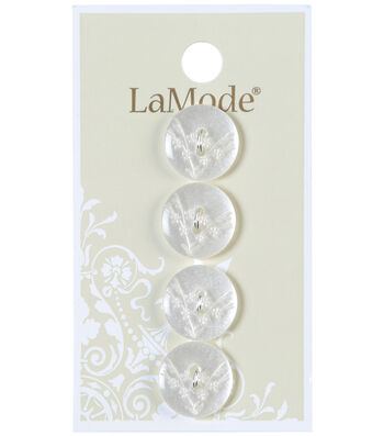 LaMode 2 Hole White Button With Etched Flowers