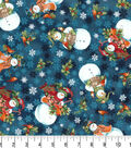 Christmas Cotton Fabric-Happy Noel Snowmen on Teal