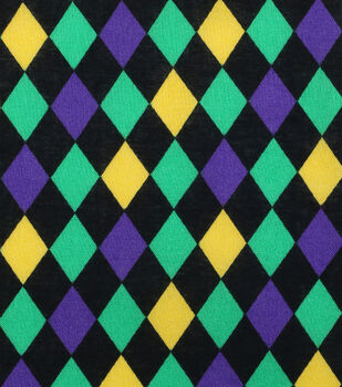 Mardi Gras Cotton Fabric-Diamonds Black