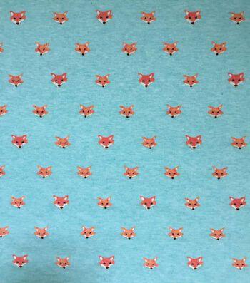 "Doodles Cotton Interlock Fabric 57""-Heather Gray Fox Heads"