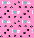 Snuggle Flannel Fabric -Pawprints on Pink