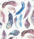 Novelty Cotton Fabric-Watercolor Feathers on Cream