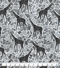 Snuggle Flannel Fabric-Gray Giraffes on White