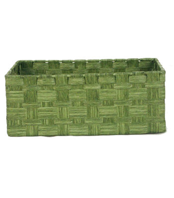 Organizing Essentials Paper Rope Media Basket-Green