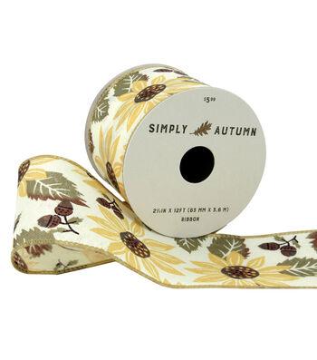 Simply Autumn Ribbon 2.5''x12'-Sunflower on Ivory