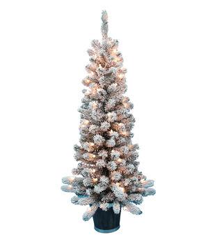 makers holiday christmas 4 pre lit flocked tree - Joann Fabrics Christmas Decorations