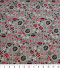 Quilter\u0027s Showcase Cotton Fabric-Red Floral Mix on Gray