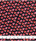 Valentine\u0027s Day Glitter Fabric -Black with Watercolor Hearts
