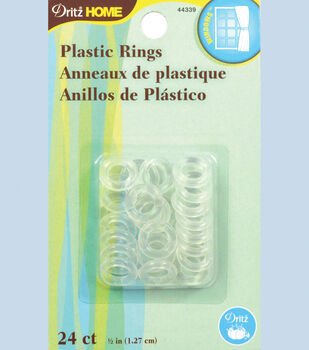 """Dritz Plastic Rings 24 Ct 1/2"""" Clear"""
