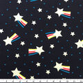 Doodles Cotton & Spandex Fabric-Silver Glitter Shooting Stars on Navy