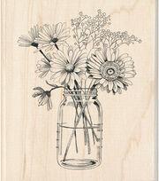 Inkadinkado 3.5''x4'' Wood Mounted Rubber Stamp-Floral Mason Jar, , hi-res