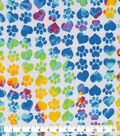 Snuggle Flannel Fabric-Tie Dye Paws And Hearts