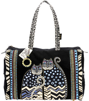 Laurel Burch Travel Bag with Zipper Top-Spotted Cats 7b00807475