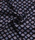 Silky Crepe Fabric 53\u0022-Black & Grey Circle Geo