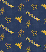 "West Virginia University Mountaineers Flannel Fabric 42""-Logo, , hi-res"