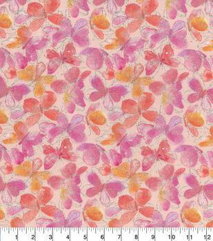 Keepsake Calico Cotton Fabric-Butterflies Glitter Pink