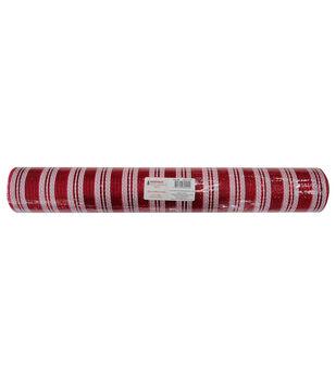 Handmade Holiday Decorative Mesh Ribbon 21''x30'-Red & White Stripes