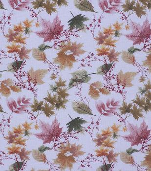 Harvest Cotton Fabric-Large Autumn Leaves Cream