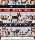 Anti-Pill Plush Fleece Fabric-Stripe Dogs on Gray & Red