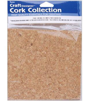 "Darice 6""x6"" Adhesive Backed Cork Tiles-4PK"
