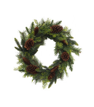 Handmade Holiday Water Resistant Pine & Pinecone Outdoor Wreath