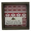 Handmade Holiday Christmas Framed Tabletop Decor-Mistletoe