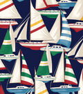 Anti-Pill Fleece Fabric 58\u0022-Sailboats On Navy