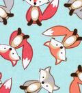Snuggle Flannel Fabric -Smiling Fox on Aqua