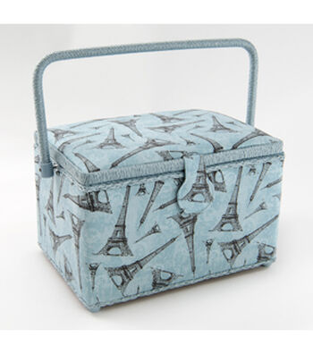 Large Rectangle Sewing Basket-Eiffel Tower