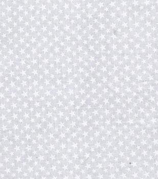Patriotic Cotton Fabric -White Stars on White