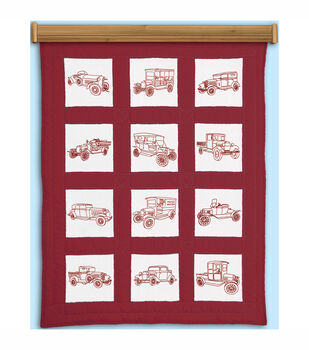 Jack Dempsey Stamped Themed Quilt Blocks Vintage Vehicles