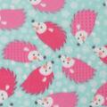 Blizzard Fleece Fabric -Hedgehogs on Aqua