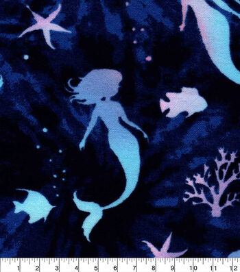 Snuggle Flannel Fabric-Rainbow Mermaid