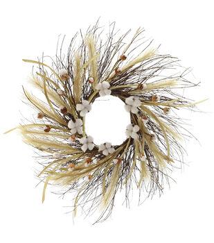 Blooming Autumn Cattail & Cotton Wreath
