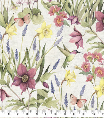 Premium Cotton Fabric-Botanical Buzz Garden