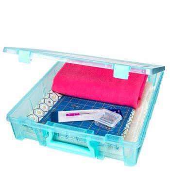 Organizing Essentials Super Satchel Double Deep Box-Aqua Mist