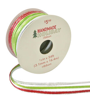Handmade Holiday Triple Satin Ribbon 1/8''x54'-Red, White & Lime