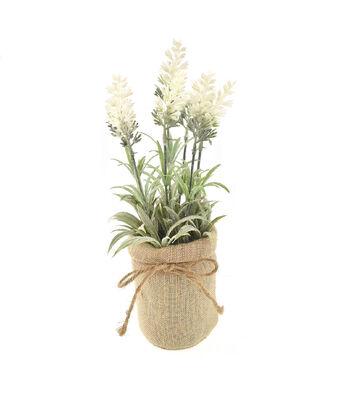 Fresh Picked Spring 12'' Lavender Arrangement in Burlap-White
