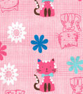 Snuggle Flannel Fabric -Cat & Flowers