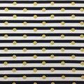 Doodles Cotton & Spandex Interlock Fabric-Gold Dots on Navy & White
