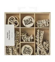 Kaisercraft Wood Mini Themed Embellishments-With Love, 45/Pkg, , hi-res